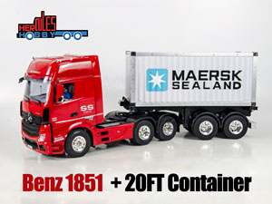 1/14 Benz 1851 + 20FT Container Semi Trailer RTR