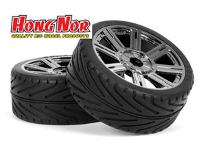 Hongnor 1/8 GT tires Chrome 8 Spokes (2P)