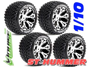 Louise 1/10 ST-HUMMER Stadium Truck Tires (Chrome) 4P